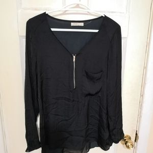 Bershka Silk Black Zip Long Sleeve Blouse Size M